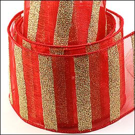 Organza & Glitter Ladder Ribbon. 63mm. Red & Gold