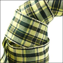 Wired Edge Apple Jack Tartan Ribbon. 60mm