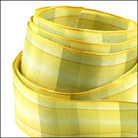 Wired Tartan Ribbon. 27mm. Caramel Chocolate
