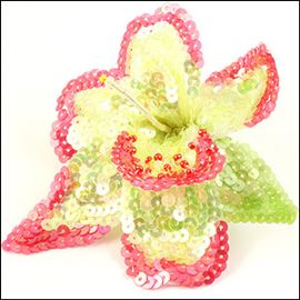 Lily Sequin Flower Brooch - Green/Coral 95mm X 110mm