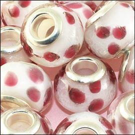 Glass Bead - Dotty Pink 14mm