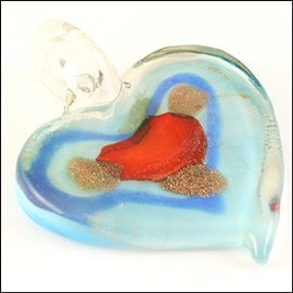 Handmade Heart Pendant With Loop - Red Island 44mm X 53mm