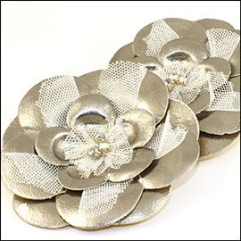 Layered Flower Brooch - Metallic Pewter 80mm