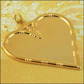 Metal Heart Pendant - Silver & Gold 38mm X 45mm