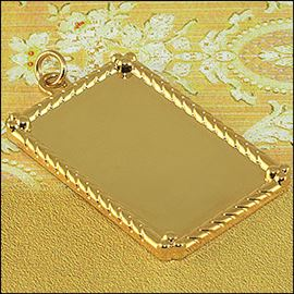 Metal Rectangle Pendant - Silver & Gold 25mm X 38mm