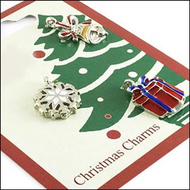 Three Xmas Charms On A Card. Xmas Theme.