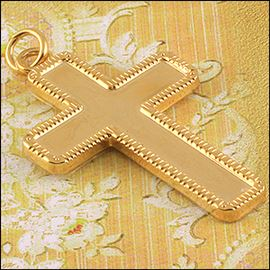 Metal Cross Pendant - Gold & Silver 14mm X 42mm