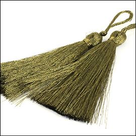 Two Fine Tassels With Loop - Metallic Gold