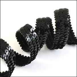 Three Rows Of Strung Sequins. 13mm. Glossy Black.