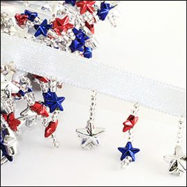 Stars & Seed Beads On A Ribbon.  Red, Blue & Silver.