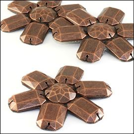 Faceted Acrylic Motif. 54mm. Antique Bronze
